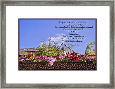 Death Cannot Long Divide Framed Print by Bonnie Barry