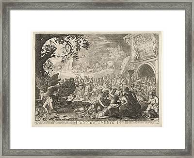 Death Fights Against Humanity Framed Print by Bo?tius Adamsz. Bolswert And David Vinckboons And Abraham Allard