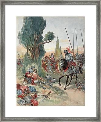 Death Of Bayard, Illustration Framed Print by Albert Robida