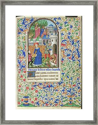 Death Of John The Baptist Framed Print by British Library