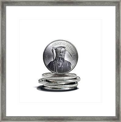 Death Of Swiss Franc Framed Print by Smetek