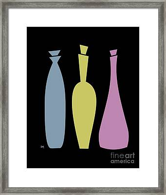 Decanters On Black 2 Framed Print by Donna Mibus