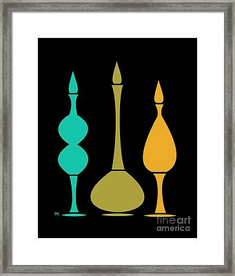 Decanters On Black 3 Framed Print by Donna Mibus