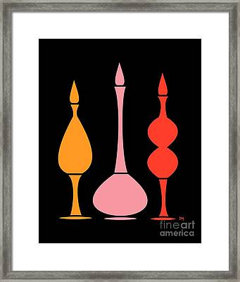 Decanters On Black 4 Framed Print by Donna Mibus