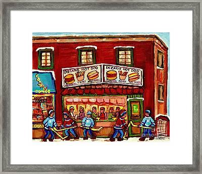 Decarie Hot Dog Restaurant Cosmix Comic Store Montreal Paintings Hockey Art Winter Scenes C Spandau Framed Print by Carole Spandau