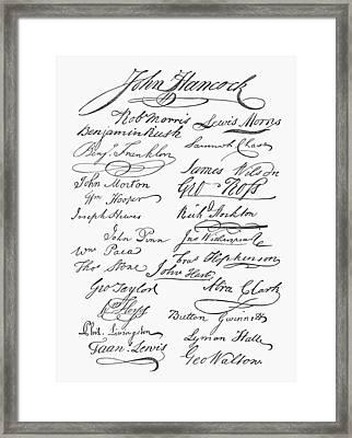 Declaration: Signatures Framed Print by Granger