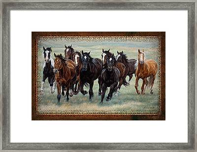 Deco Horses Framed Print by JQ Licensing