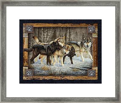 Deco Wolves Framed Print by JQ Licensing
