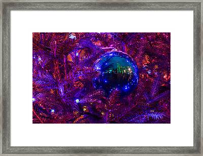 Decoration Ball On A Christmas Tree Illuminated With Red Light - Featured 3 Framed Print by Alexander Senin