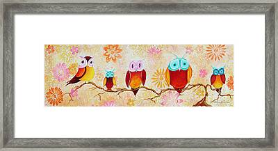 Decorative Whimsical Owl Owls Chi Omega Painting By Megan Duncanson Framed Print by Megan Duncanson