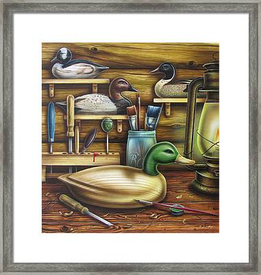 Decoy Carving Table Framed Print by JQ Licensing