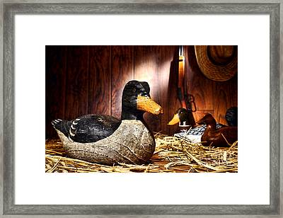 Decoy In Old Hunting Barn Framed Print by Olivier Le Queinec