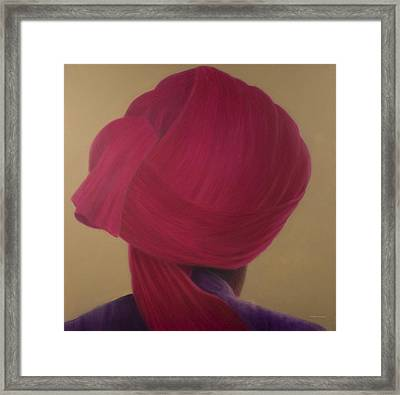 Deep Red Turban, Purple Jacket Framed Print by Lincoln Seligman