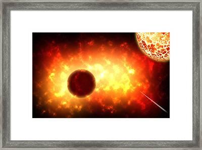 Deep Space Activity Digital Painting Framed Print by Georgeta Blanaru