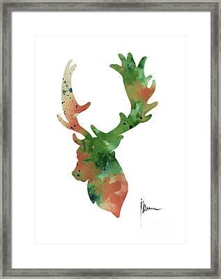 Deer Antlers Silhouette Watercolor Art Print Painting Framed Print by Joanna Szmerdt