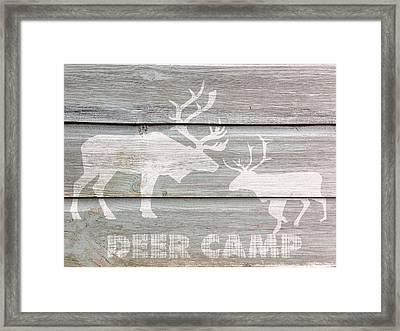 Deer Camp Framed Print by Celestial Images