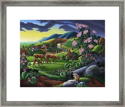 Deer Chipmunk Summer Appalachian Folk Art - Rural Country Farm Landscape - Americana  Framed Print by Walt Curlee