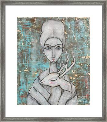 Deer Frida Framed Print by Natalie Briney