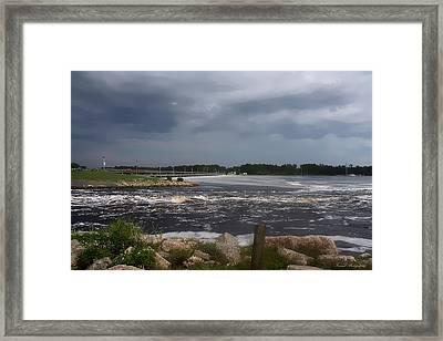 Deer Point Dam Framed Print by Debra Forand