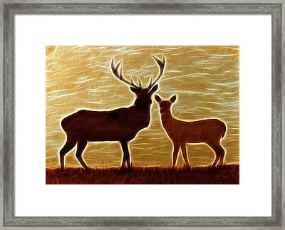 Deers Lookout Framed Print by Georgeta Blanaru