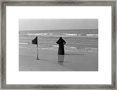 Arab Woman At The Tel Aviv Beach/black And Blue Framed Print by Kobi Amiel