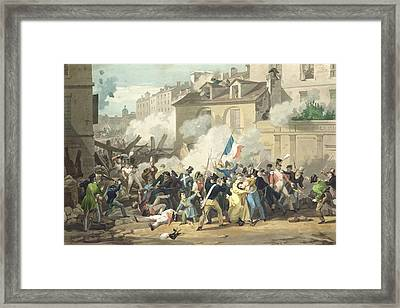 Defence Of A Barricade, 29th July 1830 Colour Litho Framed Print by French School