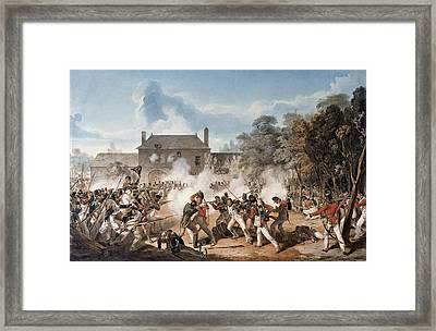 Defence Of The Chateau De Hougoumont Framed Print by Denis Dighton