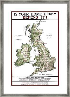 Defend The United Kingdom - 1915 Framed Print by Daniel Hagerman