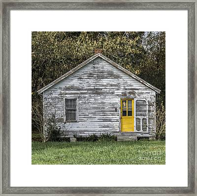 Defiant Yellow Door - Square Framed Print by Terry Rowe