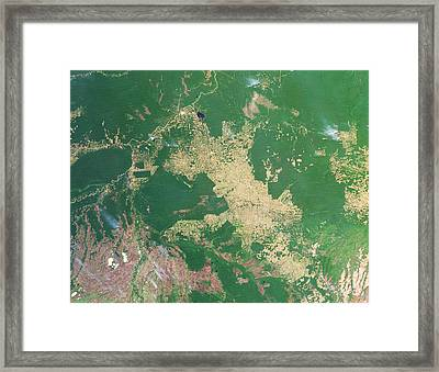 Deforestation In The Amazon Framed Print by Nasa Earth Observatoryscience Photo Library