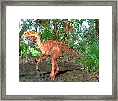 Deinonychus Dinosaur Framed Print by Friedrich Saurer