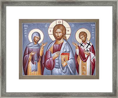 Deisis Jesus Christ St Anastasios And St Eleftherios Framed Print by Julia Bridget Hayes