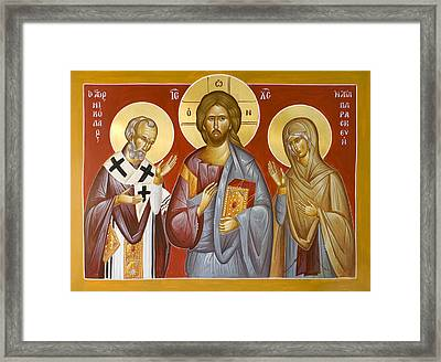 Deisis Jesus Christ St Nicholas And St Paraskevi Framed Print by Julia Bridget Hayes