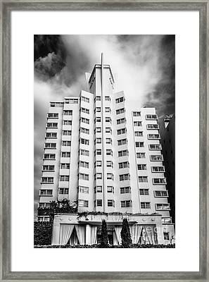 Delano Hotel - South Beach - Miami - Florida - Black And White Framed Print by Ian Monk