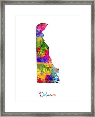 Delaware Map Framed Print by Michael Tompsett