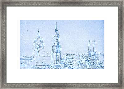 Delft Netherlands Blueprint Framed Print by Celestial Images