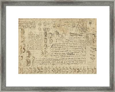 Delian Problem Or Doubling Cube Equivalence Among Various Parts Of Circle From Atlantic Codex  Framed Print by Leonardo Da Vinci