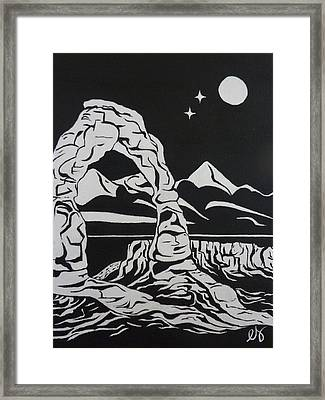 Delicate Arch By Night Framed Print by Estephy Sabin Figueroa