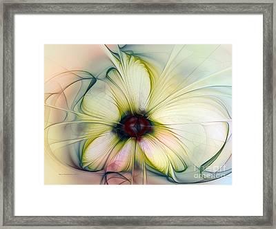 Delicate Flower Dream In Creme Framed Print by Karin Kuhlmann
