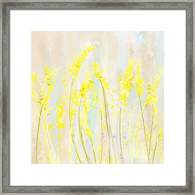 Delicately Soft- Yellow And Cream Art Framed Print by Lourry Legarde