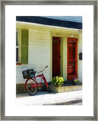 Delivery Bicycle By Two Red Doors Framed Print by Susan Savad