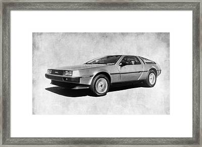 Delorean In Black And White Framed Print by Steve McKinzie