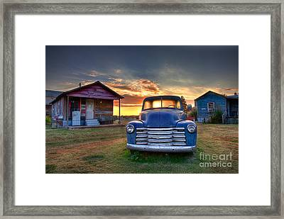 Delta Blue - Old Blue Chevy Truck In The Mississippi Delta Framed Print by T Lowry Wilson