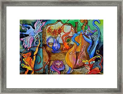 Demon Cats Framed Print by Beverley Harper Tinsley