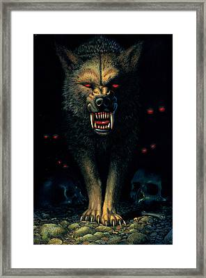 Demon Wolf Framed Print by MGL Studio - Chris Hiett