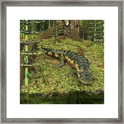 Dendrerpeton Prehistoric Amphibian Framed Print by Walter Myers