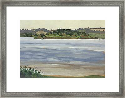 Denny Island, Chew Valley Lake Oil On Board Framed Print by Anna Teasdale