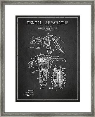 Dental Apparatus Patent Drawing From 1965 - Dark Framed Print by Aged Pixel