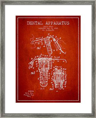 Dental Apparatus Patent Drawing From 1965 - Red Framed Print by Aged Pixel