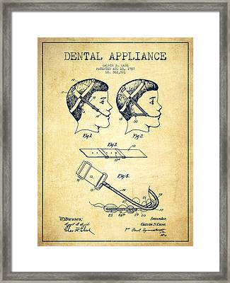 Dental Appliance Patent From 1907 - Vintage Framed Print by Aged Pixel